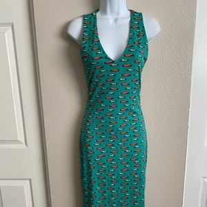 Pinup teal with race car, wiggle novelty dress